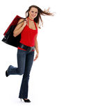 Shopping girl smiling in the shopping royalty free stock images