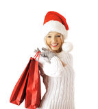 Shopping sexy santa claus woman Royalty Free Stock Photography