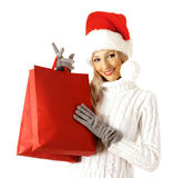 Shopping sexy santa claus woman Royalty Free Stock Photos