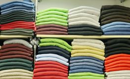 Shopping shelfs with cloth Stock Photography