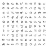 100 shopping, shipping and delivery icons set Stock Photos