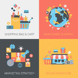 Shopping, shipping, marketing strategy and online store flat set. Shopping, shipping, marketing strategy and online store concept. Cart and bag, worldwide Stock Photography