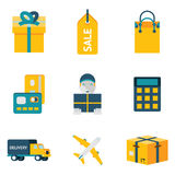Shopping and shipping modern trendy flat isolated  Stock Image