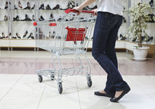 Shopping in shoe department Stock Image
