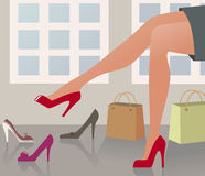 Shopping shoes. Woman with beautiful legs shopping shoes Royalty Free Stock Images