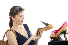 Shopping for shoes Stock Images