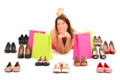 Shopping for shoes Royalty Free Stock Image