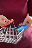 Shopping with shopping basket and credit card Royalty Free Stock Photos