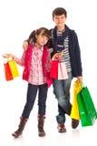 Shopping Siblings stock photos