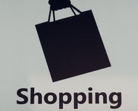 Shopping Sign. In airport, black on white Stock Images