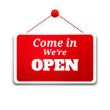 Shopping sign board. Come in we're open stock illustration