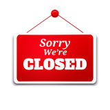 Shopping sign board. Sorry we're closed royalty free illustration
