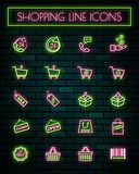 Shopping sign thin neon glowing line icons set.vector illustration.  stock illustration