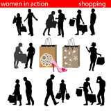 Shopping silhouette Stock Photography