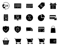 Shopping Silhouette Icons Set. Vector Pictograms vector illustration