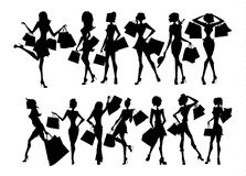 Shopping silhouettes set. Stock Photography