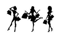 Shopping silhouettes set. Stock Photo