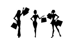 Shopping silhouettes set.  Royalty Free Stock Photos