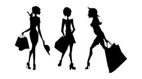 Shopping silhouettes set.  Stock Image