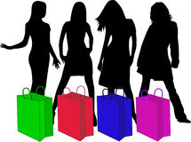 Shopping Silhouettes, vector work Stock Photo