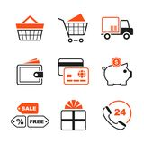 Shopping simple vector icon set Royalty Free Stock Image