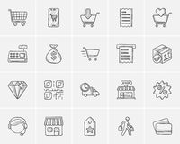 Shopping sketch icon set. Royalty Free Stock Photo