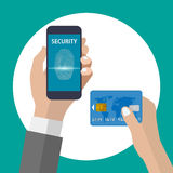 Shopping with smartphone and credit card using fingerprint identification. This image was made by an illustrator. Vector EPS 10 format Royalty Free Stock Images