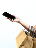 Shopping by smartphone Royalty Free Stock Images