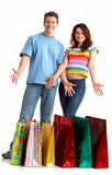 Shopping smile couple Stock Images