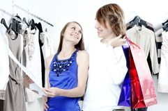 Shopping  smile couple at the mall Stock Photography