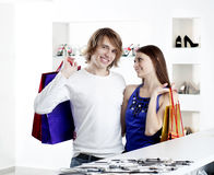 Shopping  smile couple at the mall Stock Photo