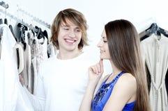 Shopping  smile couple at the mall Stock Photos