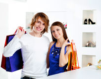 Shopping  smile couple at the mall Stock Image