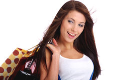 Shopping smile woman. stock photography