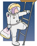 Shopping spaceman. Astronaut climbing down spaceship ladder with plastic bag Royalty Free Stock Photography