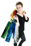 Shopping spree. Attractive Caucasian woman holding many shopping bags Stock Photo