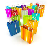 Shopping spree. 3D rendering of a large group of different colourful shopping bags Royalty Free Stock Photography