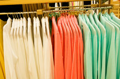 Shopping spree - colorful jackets for her stock images