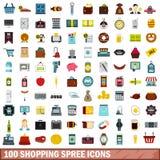 100 shopping spree-geplaatste pictogrammen, vlakke stijl stock illustratie
