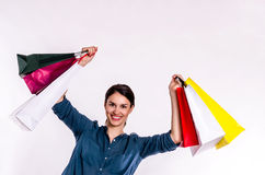 Shopping Spree Girl. With Shopping Bags stock images