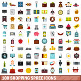 100 shopping spree icons set, flat style Stock Photo
