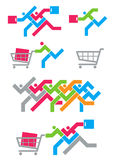 Shopping spree-pictogrammen stock illustratie