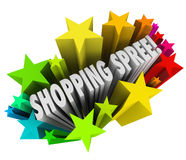 Shopping Spree Words Stars Winner Sweepstakes Prize. The words Shopping Spree in a colorful burst of stars or fireworks as a sweepstakes prize or winning entry vector illustration