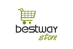 Shopping station Logo Design Stock Photography
