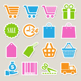 Shopping sticker icons set. Stock Images