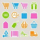 Shopping sticker icons set. Stock Images