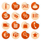 Shopping stickers. Shopping symbols on round stickers Stock Photography