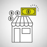 Shopping store buy money coins dollar icon graphic Stock Image