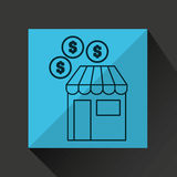 Shopping store buy money coins dollar icon graphic Royalty Free Stock Photos