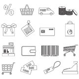 Shopping and store outline black icons eps10 Royalty Free Stock Photos
